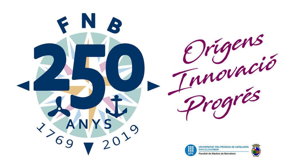 Logotip de la commemoració del 250 aniversari de la Facultat de Nàutica de Barcelona