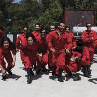 """Alumnes de l'Aula professional de la Facultat de Nàutica de Barcelona participants al curs """"Formació bàsica contra incendis"""". 2018."""