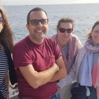 Personal de la biblioteca a la sortida dels professors i personal d'administració i serveis de la Facultat de Nàutica de Barcelona en Golondrina. 2019