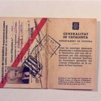 Carnet del professor Alfred Jaen i Jiménez que l'identifica com a funcionari de la generalitat amb el càrrec de professor d'Astronomia. 1937.