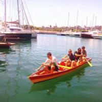 Varada de la barca per a Azizakpe, Ghana, construïda pels estudiants de la Facultat de Nàutica de Barcelona. 2017