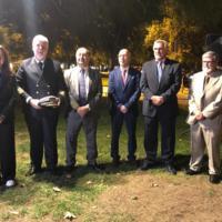 Autoritats en la plantada de l'arbre al jardí de la Facultat de Nàutica de Barcelona amb motiu dels actes del 250 aniversari. 2019