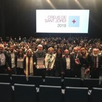 Representació del personal de la Facultat de Nàutica amb la Creu de Sant Jordi lliurada a la Facultat de Nàutica de Barcelona. 2019
