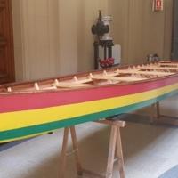 Barca per a Azizakpe, Ghana, al vestíbul de la Facultat de Nàutica de Barcelona. 2019