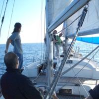 """Vaixell de pràctiques de la Facultat de Nàutica de Barcelona """"Barcelona"""" navegant amb alumnes a bord amb les veles hissades."""