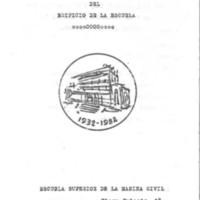 Coberta del programa d'actes del cincuentenari de l'edifici de la Escuela Superior de la Marina Civil. 1982